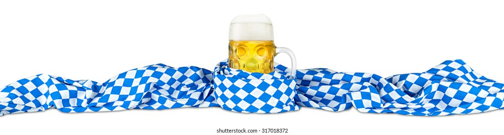 german oktoberfest beer mug in bavarian flag
