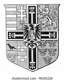 German Order emblem at the end of 19th century -  Picture from Meyers Lexicon books collection (written in German language ) published in 1906 , Germany.