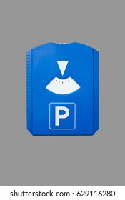 A german parking disc without text isolated on grey