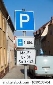 German Parking sign with restrictions in time