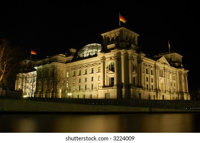 German Parliament Building the Reichstag illuminated at Night, Berlin Germany