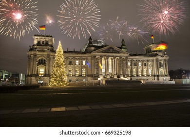 German parliament at new year's eve in Berlin