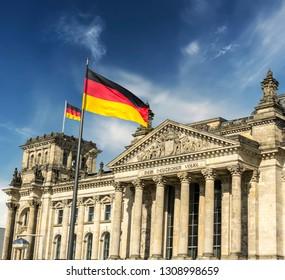 German parliament (Reichstag) building in Berlin, Germany