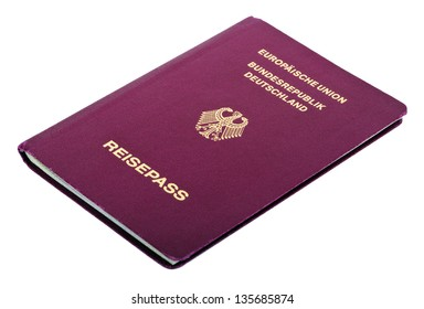 A German passport Isolated on white background.
