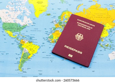 German Passport on a world map