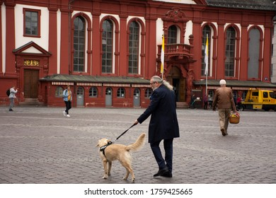 German people leash dog walking relax at front of marktplatzbrunnen with St. Sebastian Church and the Old Town Hall Altes Rathaus at Mannheimer Wochenmarkt on September 9, 2019 in Mannheim, Germany