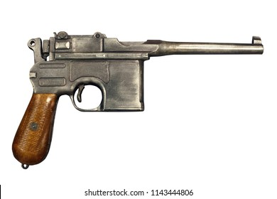 German pistol model 1896/1912 (Mauser). Old military pistol on white background. Isolated with clipping path