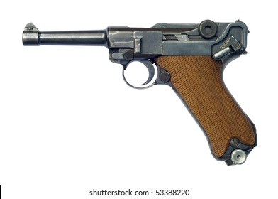 A German (Pistole Parabellum 1908) Luger P08 pistol with the safety catch on. The Luger was made popular by its use by Germany during World War I and World War II.