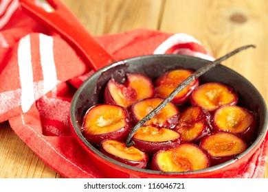 German Poached Plums (Pochierte Pflaumen) In Vanilla & Orange Blossom Water