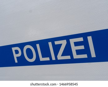 German Police Sign on the Truck