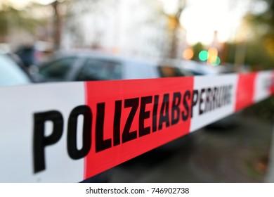 german police warning sign
