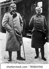 German political and military leaders during World War 1. L-R: General Paul von Hindenburg, and Gen. Erich Ludendorff, c. 1915-18. Together they were the defacto dictators of Germany from 1916-1918, d