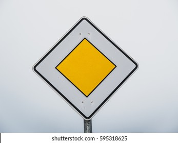 German Priority Road Sign in yellow and white