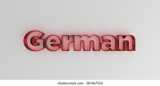 German - Red glass text on white background - 3D rendered royalty free stock image.