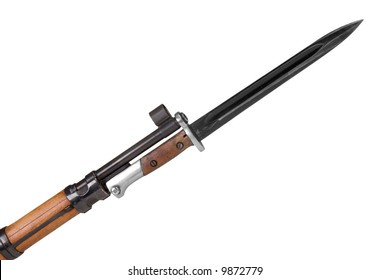 German rifle barrel with bayonet isolated over a white background