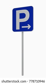 German road sign: parking in arrow (right) allowed, isolated on white. 3d rendering