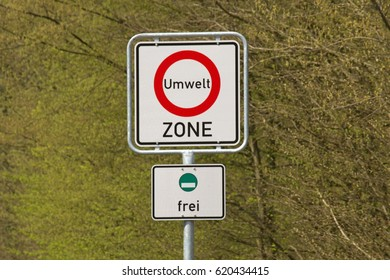 German sign environment zone, green plaque