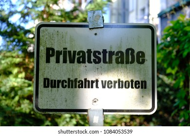 German sign for privat street
