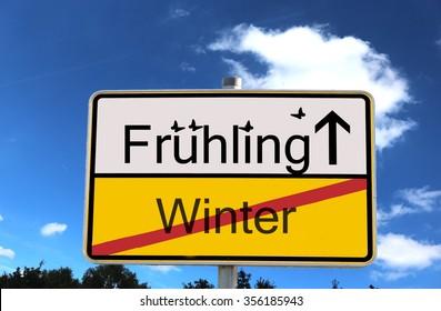 German sign German Translation: Fruhling means spring winter means winter - Shutterstock ID 356185943