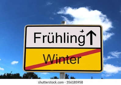 German sign German Translation: Fruhling means spring winter means winter - Shutterstock ID 356185958