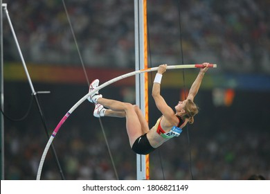 German Silke Spiegelburg competes with isinbayeva in the pole vault final at the National Stadium at the China 2008 Beijing Olympic Games on August 18, 2008.
