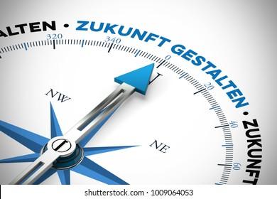 "German slogan ""Zukunft gestalten"" (shaping future) on compass as business success concept (3D Rendering)"