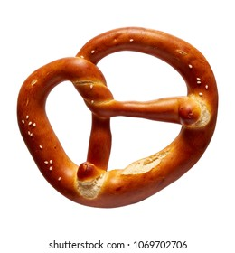 German Soft Pretzel. Single German bread pretzel on a white background.