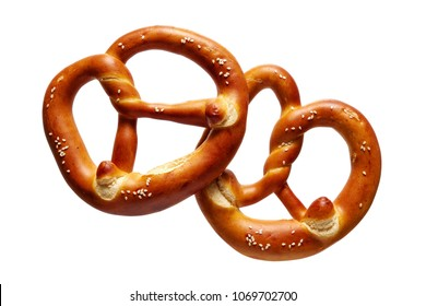 German Soft Pretzel. Two German bread pretzels on a white background.
