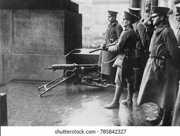 German soldiers defending the German National Assembly building in Berlin, 1919. During the violent months of German Revolution, the government was threatened by radical militias from both the right a