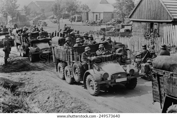 German soldiers invade Poland in armored and motorized divisions in Sept. 1939. It was the beginning of World War 2. in Europe.