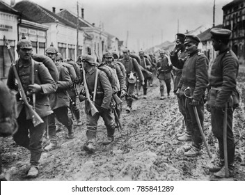 German soldiers marching through the Serbian town of Paracin in 1915, during World War I.