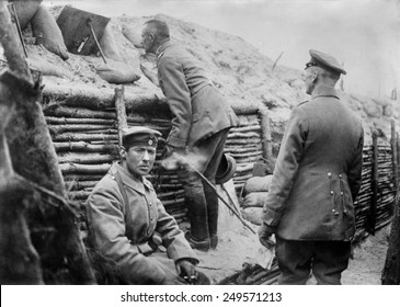 German soldiers observing No Man's Land from their trench. World War 1. 1914-15.