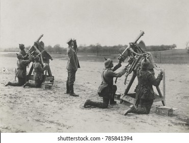 German soldiers on the Eastern Front aiming anti-aircraft machine guns during World War 1