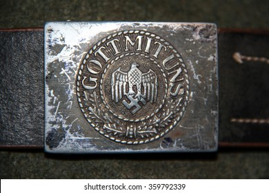 """German standard soldier belt with imperial eagle and inscription """"God with us"""". Used only for historical purpose!"""