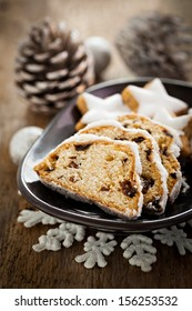 german stollen cake with raisins and cookies