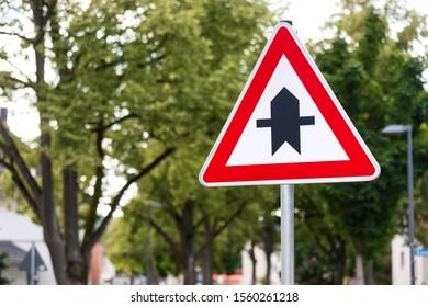 a German street priority sign