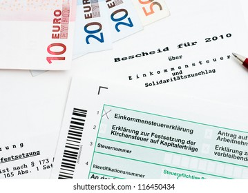 German tax bill in a studio shot, official form, no personal informations