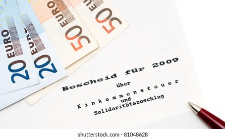 German tax bill in a studio shot (no personal information given)