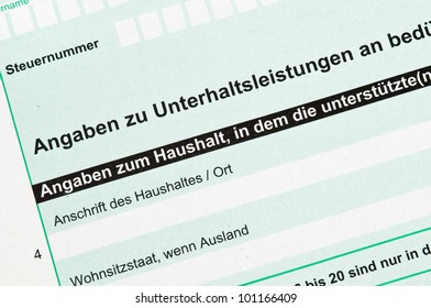 German tax form for alimony
