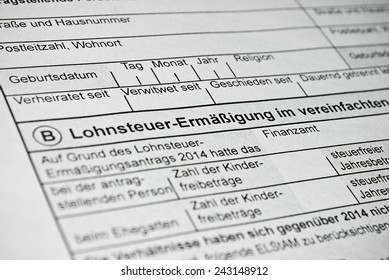 German tax form. Personal income tax form used in Germany.