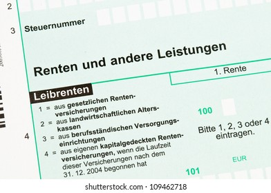German tax form for retirement tax