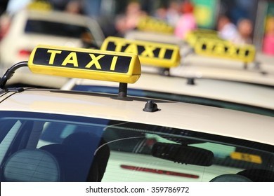 german taxi cabs waiting for passengers