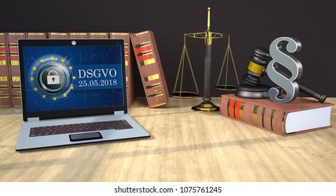 German text DSGVO, translate General Data Protection Regulation. 3d illustration