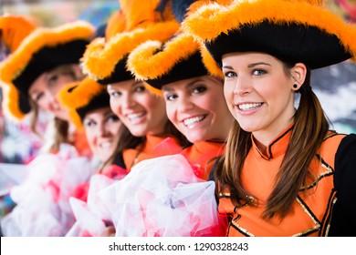 German traditional dance group Funkenmariechen in carnival celebration