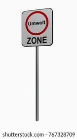 German traffic sign: environmental zone, 3d rendering