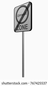 German traffic sign: environmental zone ends, 3d rendering