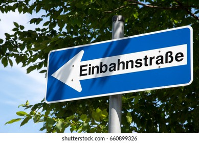 A German traffic sign for a one way street
