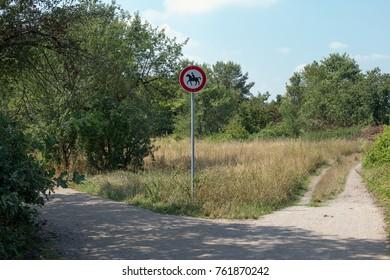 German traffic sign riding forbidden