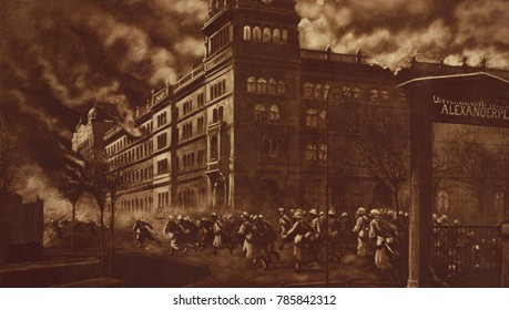 German troops storming of Berlin Police Headquarters to oust the Spartacists, Jan. 12, 1919. The adherents of ousted leftist Police Chief, Emil Eichhorm, occupied the building on Nov. 9, 1918. the att
