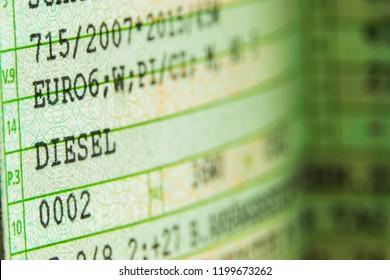 German vehicle registration certificate Euro 6 Diesel